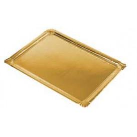 Plat rectangulaire en Carton Doré 22x28cm (300 Unités)