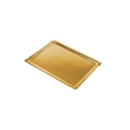 Bandeja Rectangular de Carton Oro 22x28cm (Caja 300 unid)