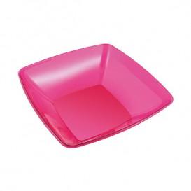 Assiette carrée en plastique dur Noir 18x18 cm (200 Utés)