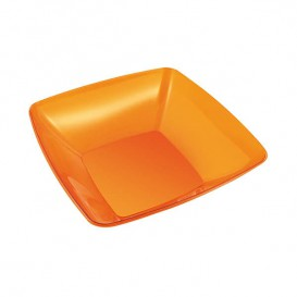 Plastic Kom PS Kristal Hard oranje 480ml 14x14cm (60 stuks)