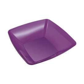 Plastic Kom PS Kristal Hard aubergine kleur 480ml 14x14cm (60 stuks)