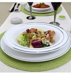 Assiette Plastique Creuse Dur Liseré Argent 23cm (200 Utés)