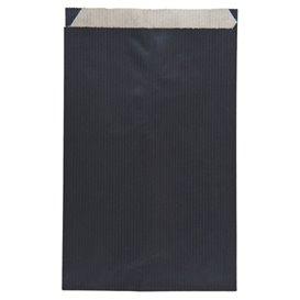 Sac Papier Kraft Noir 12+5x18cm (125 Unités)