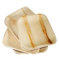 Assiette carrée en Feuilles de Palmier 15x15cm (25 Unités)