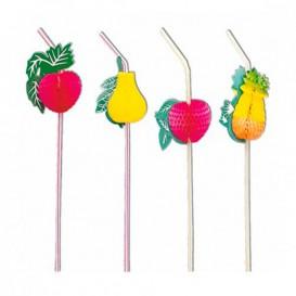 Plastic rietje flexibel PS Fruit Design Ø0,5cm (50 stuks) 33cm (50 stuks)