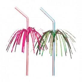 Plastic rietje flexibel PS Palm Tree Design Ø0,5cm 23cm (100 stuks)