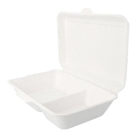 """Suikerriet Gescharnierd Container """"Menu Box"""" 2 Compartmenten wit 22,5x16,5x6,4cm (50 stuks)"""