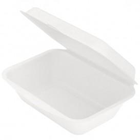 """Suikerriet Gescharnierd Container """"Menu Box"""" wit 13,6x18,2x6,4cm (50 stuks)"""