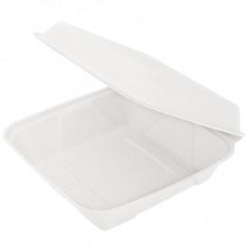"""Suikerriet Gescharnierd Container """"Menu Box"""" wit 22,5x22,5x7,5cm(200 stuks)"""