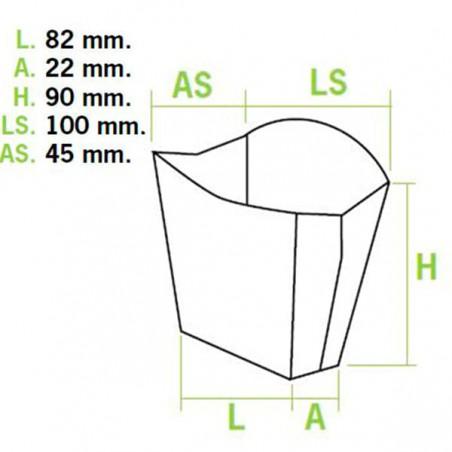 Etuis à Frites Petit  8,2x3,1x9cm (50 Utés)