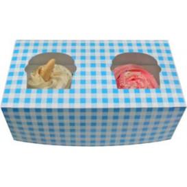 Boîte pour 2 Cupcakes Bleu avec insert (160 Unités)