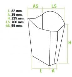 Etuis à Frites Moyen 8,2x3,5x12,5cm (500 Utés)