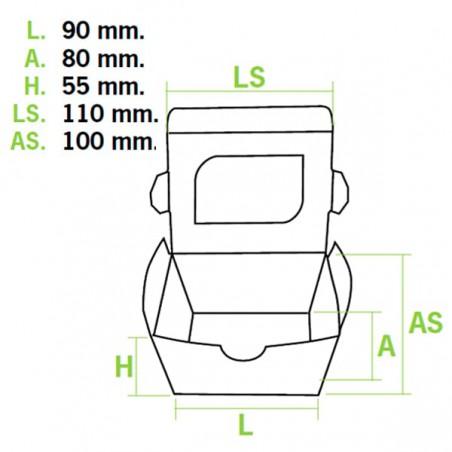 Barquette kraft écologique 11x10x5,5cm 400ml (500 Utés)