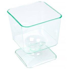 Verre à Pied en Plastique Carré Vert Transp. 60 ml (288 Unités)